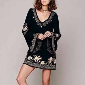 Free People Skyfall Embroidered Bell Sleeve Dress